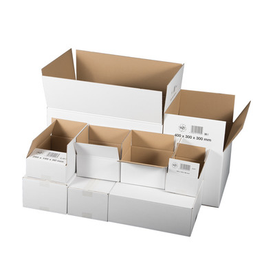Cardboard box double wall, 304x217x150mm, white